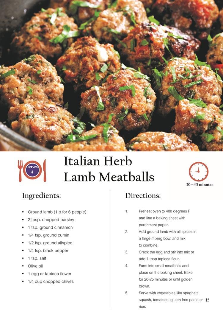 Italian Herb Lamb Meatballs