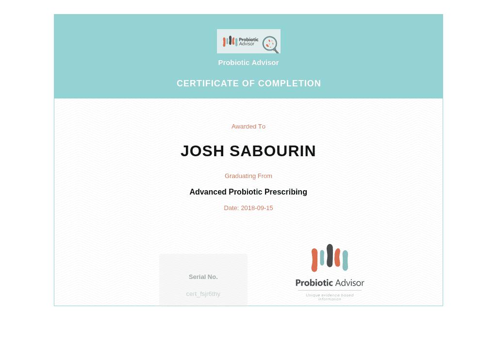 probiotic prescribing certificate